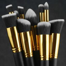 10Pc Makeup Brushes Tool Set Cosmetic Eyeshadow Face Powder