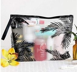 Fashion Women Travel Cosmetic Bags PVC Clear Leaf Makeup Org