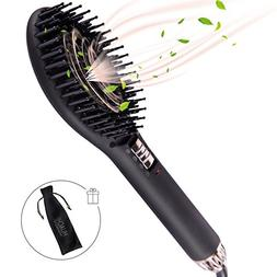 hair straightener brush ceramic flat