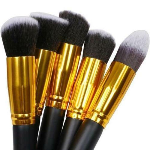 10Pc Brushes Tool Set Cosmetic Powder Foundation Lip Brush