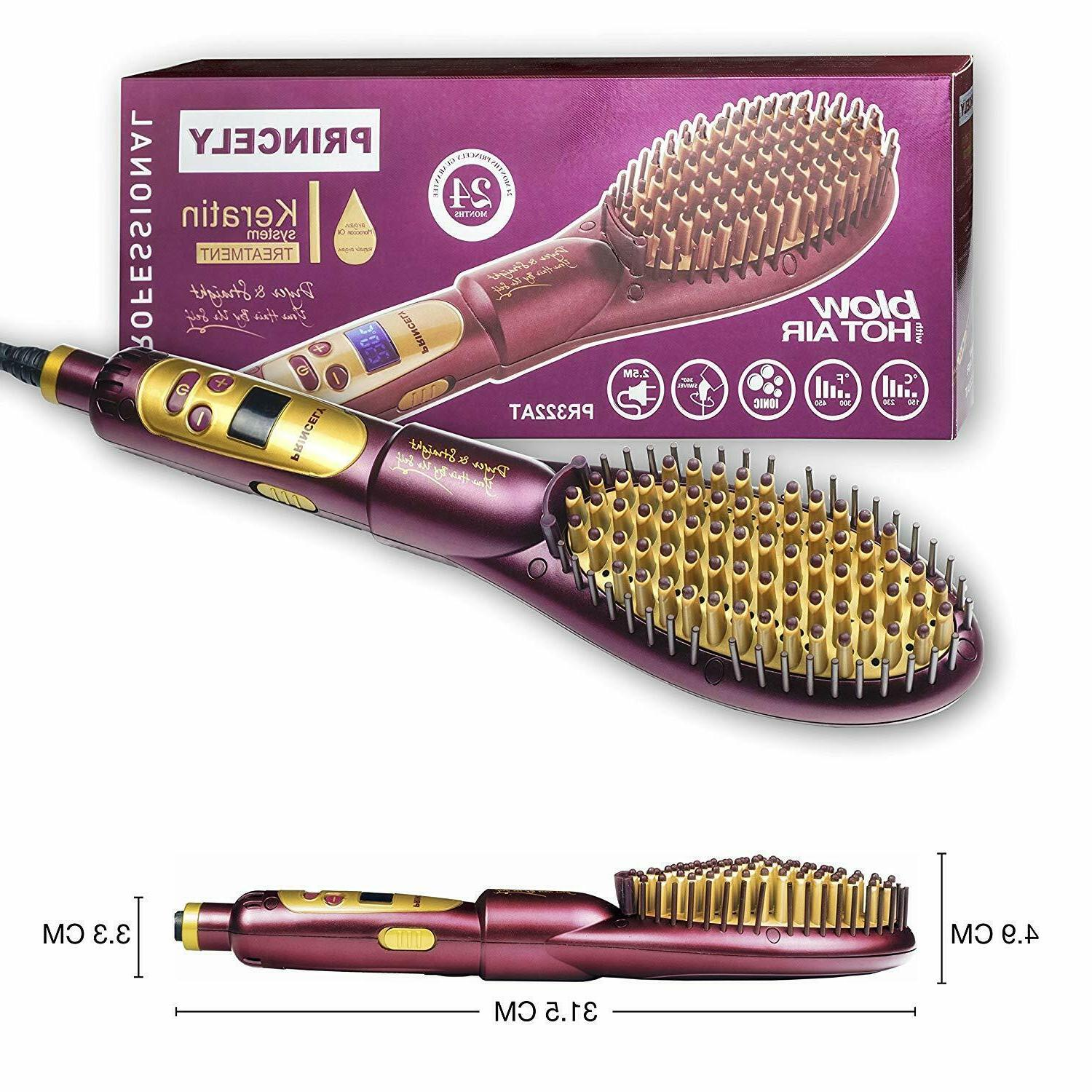 Princely 2 in 1 Ionic hair straightening brush,Hot Air