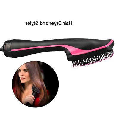 2 in Hair Blow Hot Air Styler Curling Wand Comb Brush