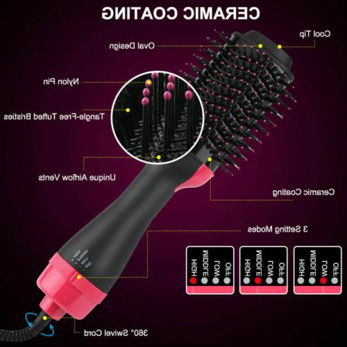 4-in-1 Hot Air Style Curler Hair Dryer Roll Brush Hairdryer US