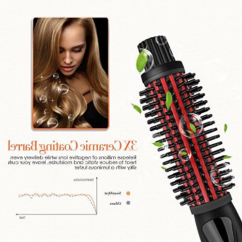 SwanMyst Curling Iron 1.25 Anti-scald Bristles, Ceramic Hot Hair Curling Styling Brush, Dual Voltage