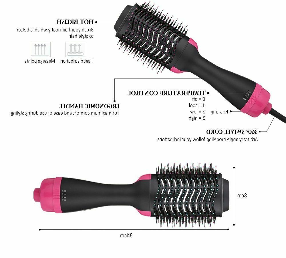 Hair Dryer Brush Volumizer 2 in Straightener and Curler Hot Curling
