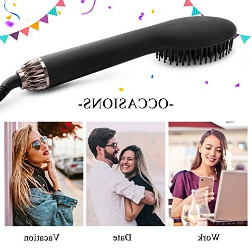 Huachi Hair Volumizer Brush One-Step Brush Professional Flat Heating Comb Hot Air Long Short Thin Damaged Hair