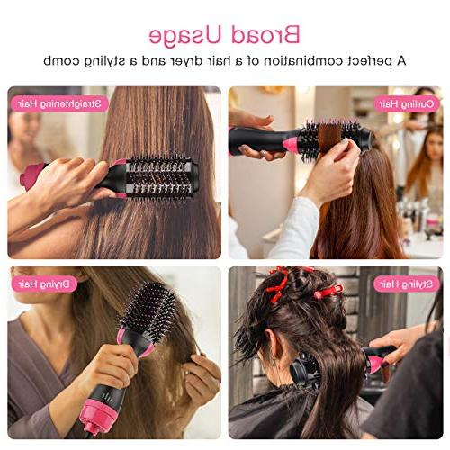 One Hot Brush, 3 1 Hair with Straightening, Curling, Fast Drying, Cool Setting and 2 Salon Styling Type Anti-Scald