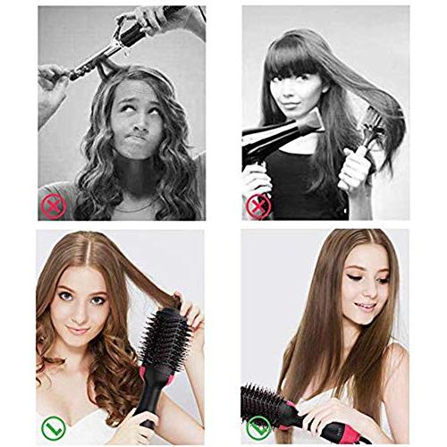 One Step Hot Air Brush, Air with Negative Ion Generator Volumizer Paddle Multifunctional Hot Comb Brush Women