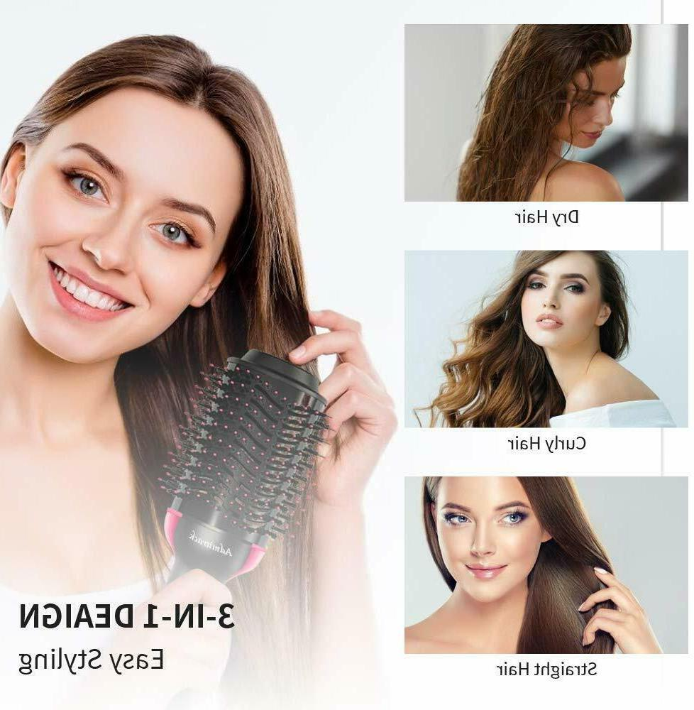 One Hair Dryer Volumizer Hot Air 3-IN-1 All Types Curler