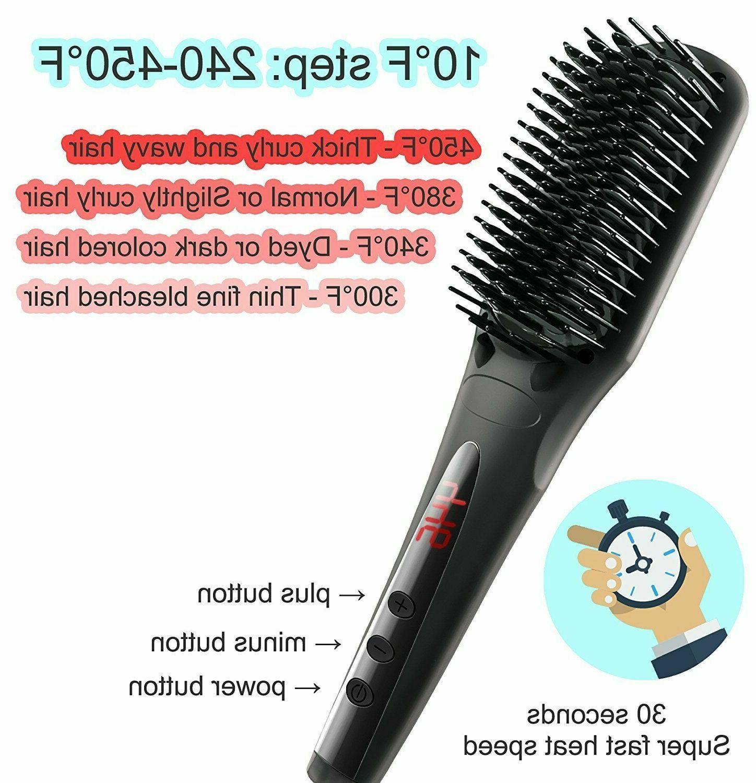 Silky Hair Straightener Comb Spray Heating Electric Brush