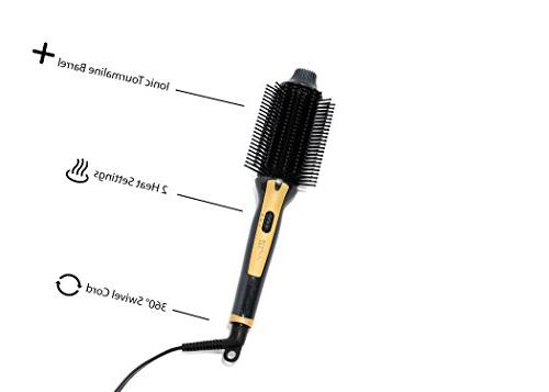 Tru Beauty 2-in-1 Styling Brush, Barrel, Swivel Cord Black/Gold