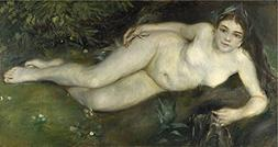 Oil Painting 'Pierre Auguste Renoir A Nymph By A Stream', 12