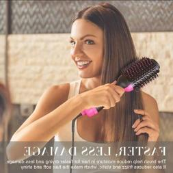Hair Dryer&Volumizer Brush One Step Straightening Curling Ir