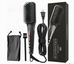Silky Hair Straightener Brush Comb Anion Spray Ceramic Heati